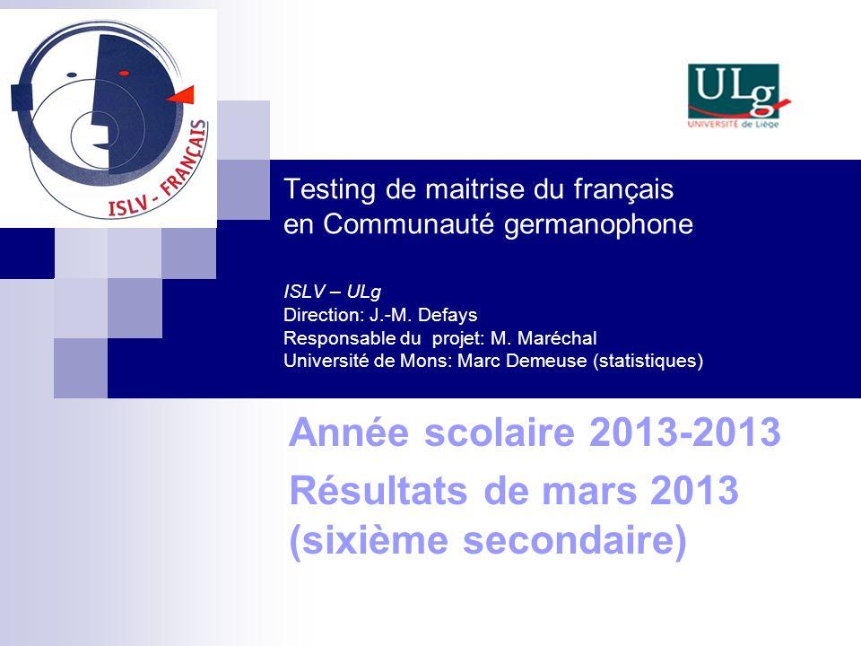 Testing de maitrise du français en Communauté germanophone ISLV – ULg Direction: J.-M. Defays Responsable du projet: M. Maréchal Université de Mons: M