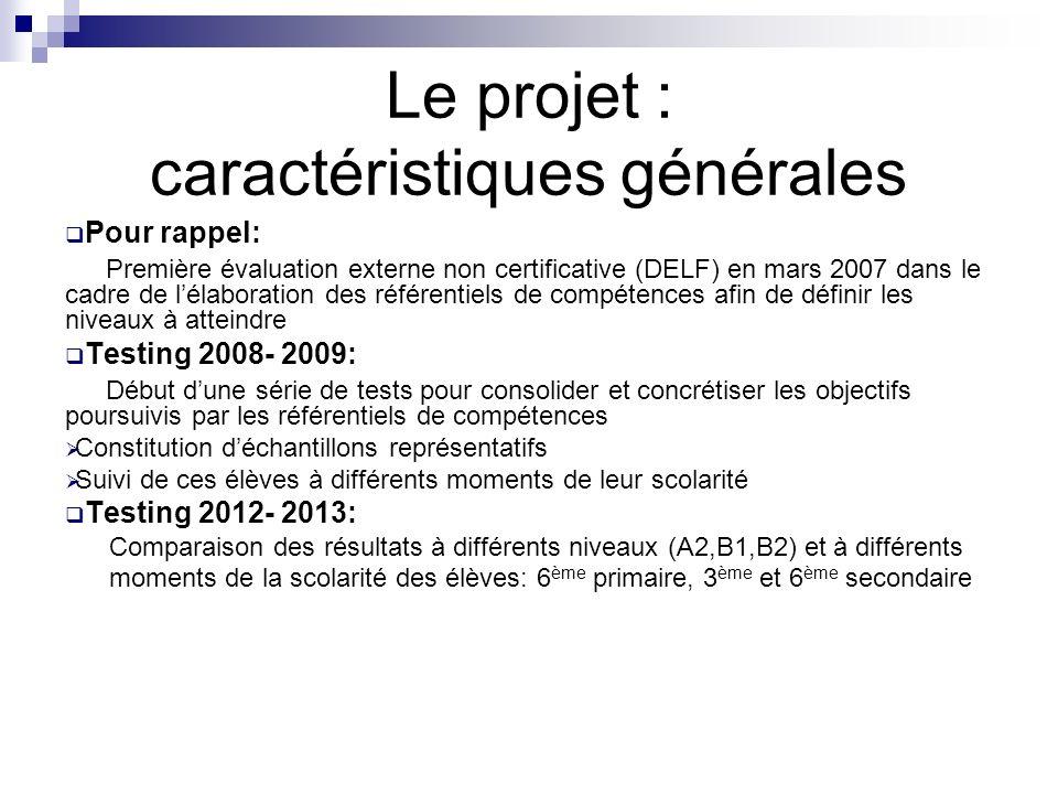 Le projet : caractéristiques générales Pour rappel: Première évaluation externe non certificative (DELF) en mars 2007 dans le cadre de lélaboration de
