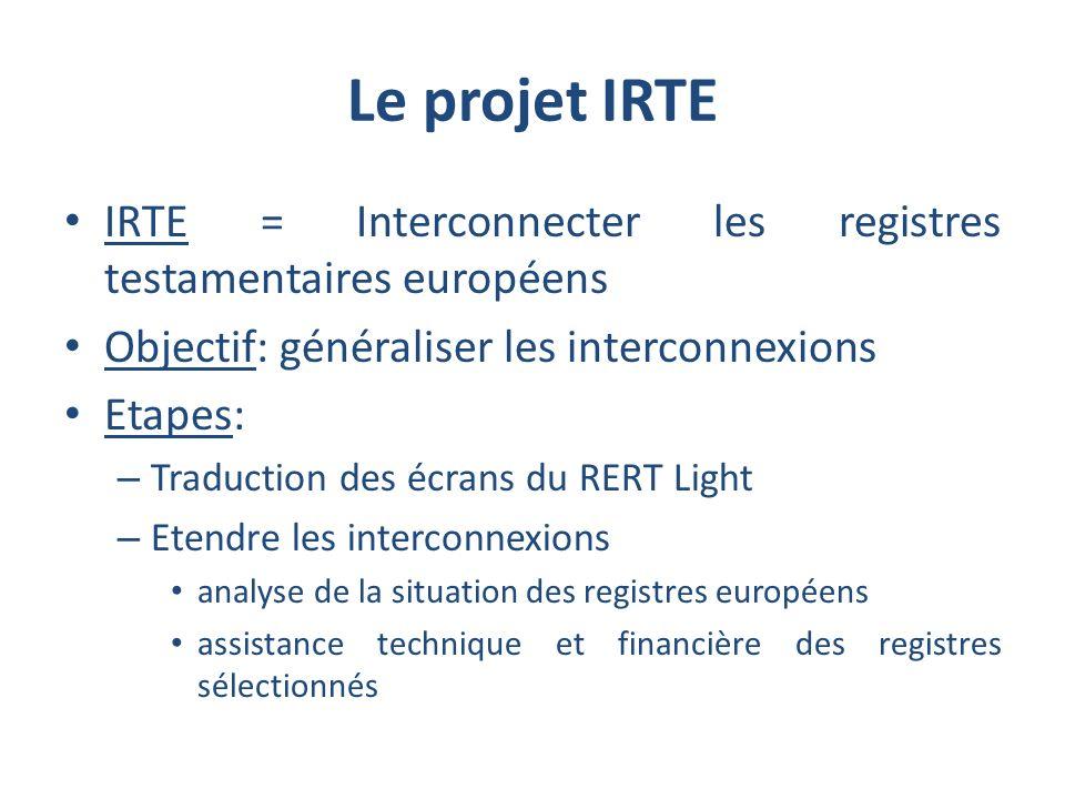 Le projet IRTE IRTE = Interconnecter les registres testamentaires européens Objectif: généraliser les interconnexions Etapes: – Traduction des écrans