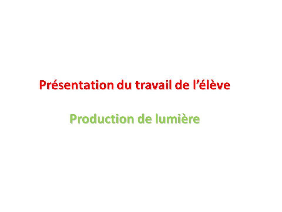 Présentation du travail de lélève Production de lumière