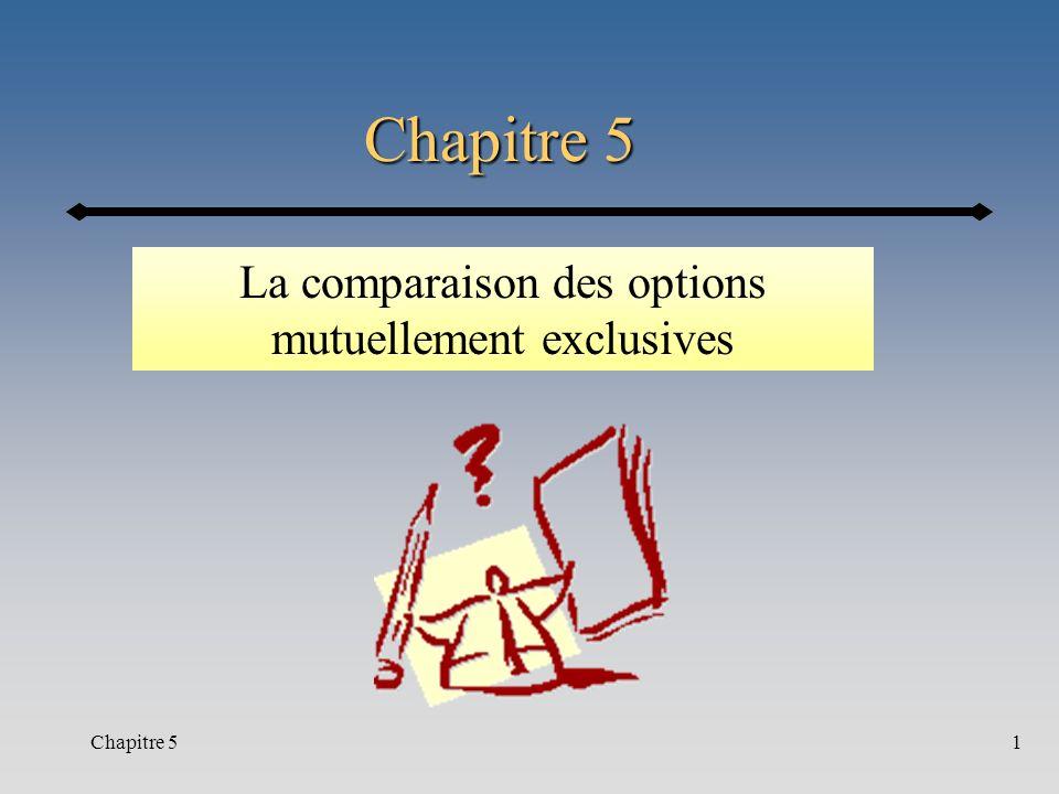 Chapitre 51 La comparaison des options mutuellement exclusives