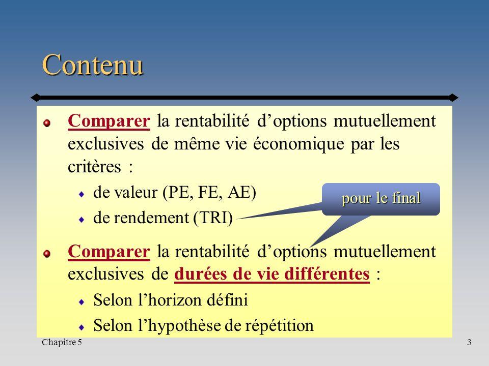 Chapitre 53 Contenu Comparer la rentabilité doptions mutuellement exclusives de même vie économique par les critères : de valeur (PE, FE, AE) de rende