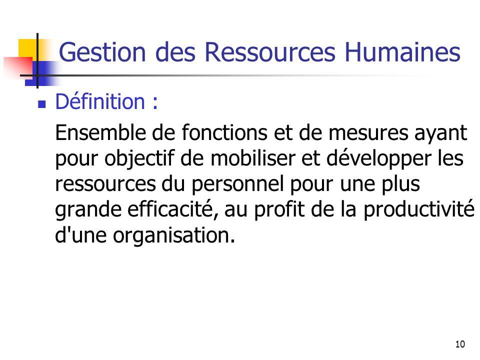 10 Gestion des Ressources Humaines Définition : Ensemble de fonctions et de mesures ayant pour objectif de mobiliser et développer les ressources du personnel pour une plus grande efficacité, au profit de la productivité d une organisation.