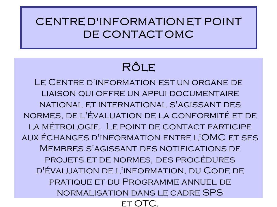 Importance de l'information en tant que matière première indispensable Rôle d'un Centre d'information/point de contact en tant que fournisseur d'infor