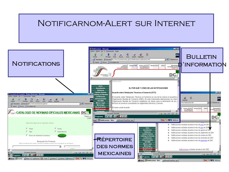 Notificarnom-Alert sur Internet Faits marquants 1995-1997 -Distribution du bulletin de notifications sur papier.