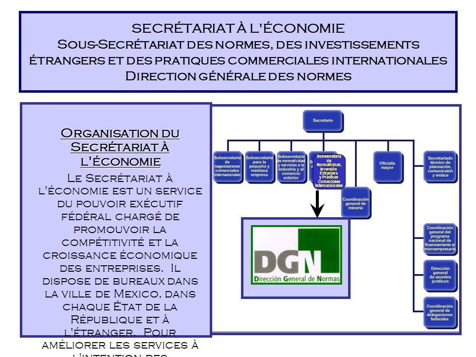 SECRÉTARIAT À L ÉCONOMIE Sous-Secrétariat des normes, des investissements étrangers et des pratiques commerciales internationales Direction générale des normes Organisation du Secrétariat à l économie Le Secrétariat à l économie est un service du pouvoir exécutif fédéral chargé de promouvoir la compétitivité et la croissance économique des entreprises.