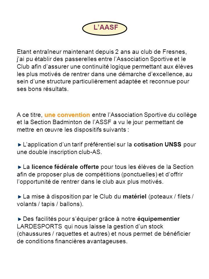 LAASF une convention A ce titre, une convention entre lAssociation Sportive du collège et la Section Badminton de lASSF a vu le jour permettant de met