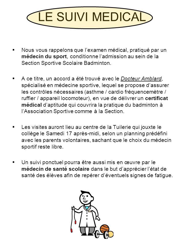 Nous vous rappelons que lexamen médical, pratiqué par un médecin du sport, conditionne ladmission au sein de la Section Sportive Scolaire Badminton. A