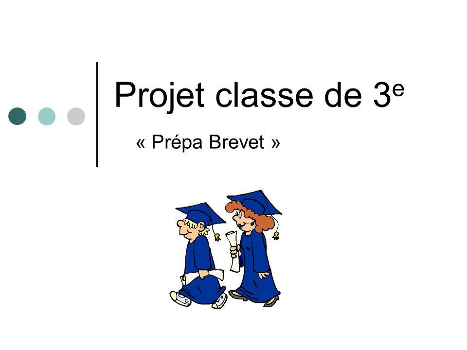 Projet classe de 3 e « Prépa Brevet »