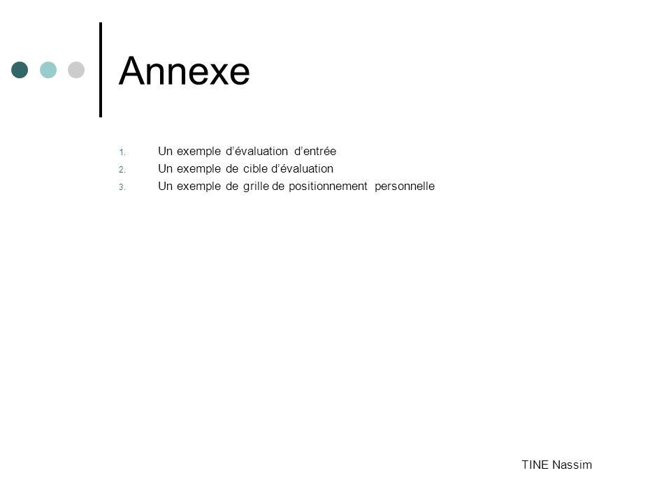 Annexe 1.Un exemple dévaluation dentrée 2. Un exemple de cible dévaluation 3.