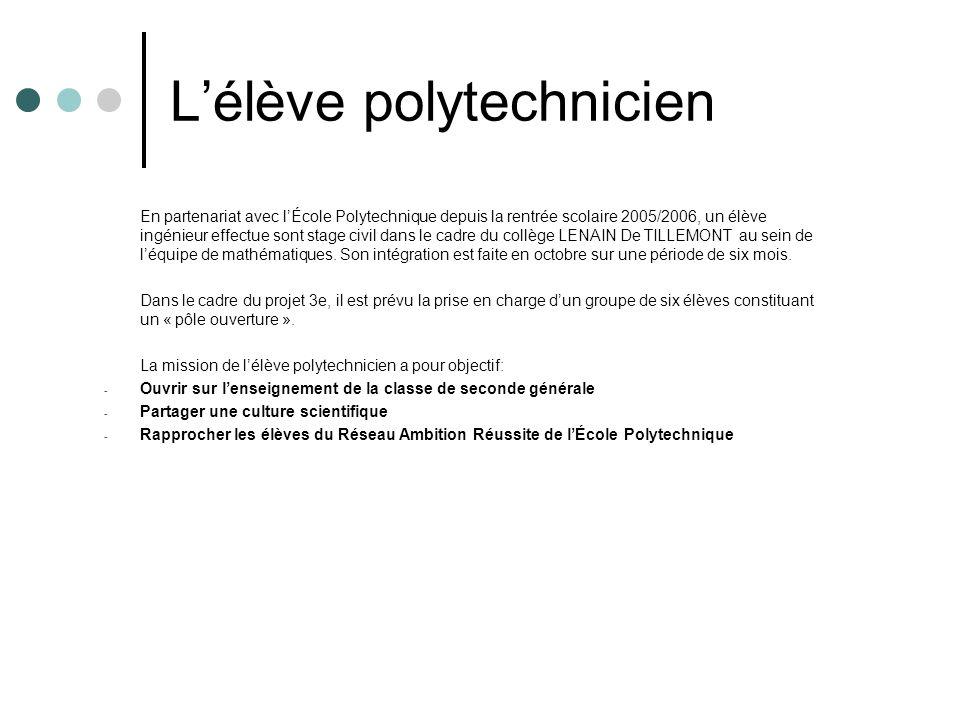 Lélève polytechnicien En partenariat avec lÉcole Polytechnique depuis la rentrée scolaire 2005/2006, un élève ingénieur effectue sont stage civil dans le cadre du collège LENAIN De TILLEMONT au sein de léquipe de mathématiques.