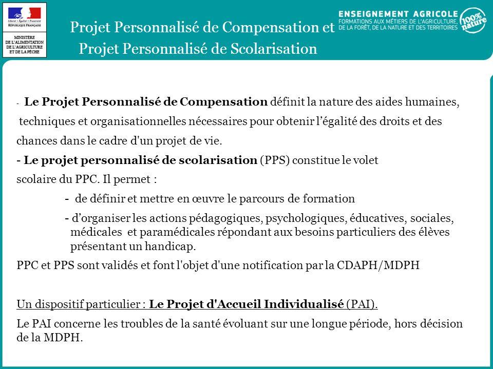Projet Personnalisé de Compensation et Projet Personnalisé de Scolarisation - Le Projet Personnalisé de Compensation définit la nature des aides humai