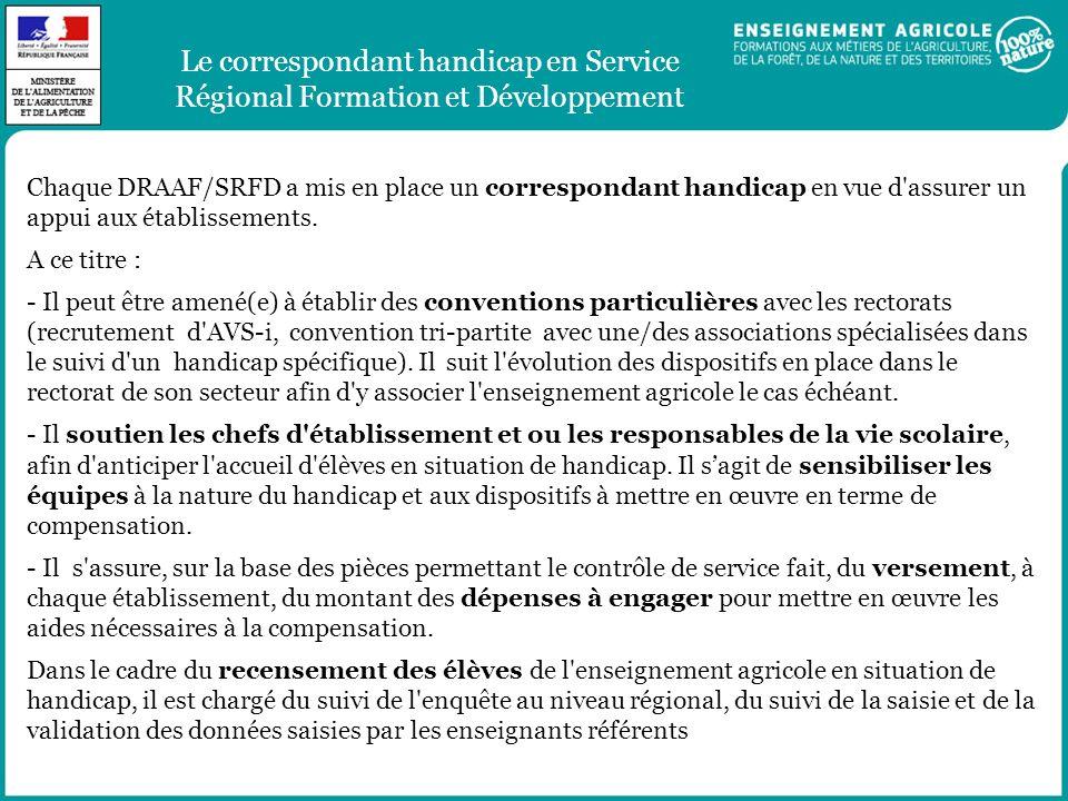 Le correspondant handicap en Service Régional Formation et Développement Chaque DRAAF/SRFD a mis en place un correspondant handicap en vue d'assurer u