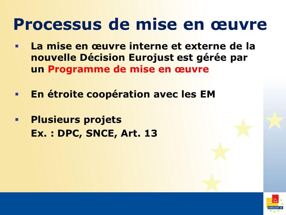 Processus de mise en œuvre La mise en œuvre interne et externe de la nouvelle Décision Eurojust est gérée par un Programme de mise en œuvre En étroite coopération avec les EM Plusieurs projets Ex.