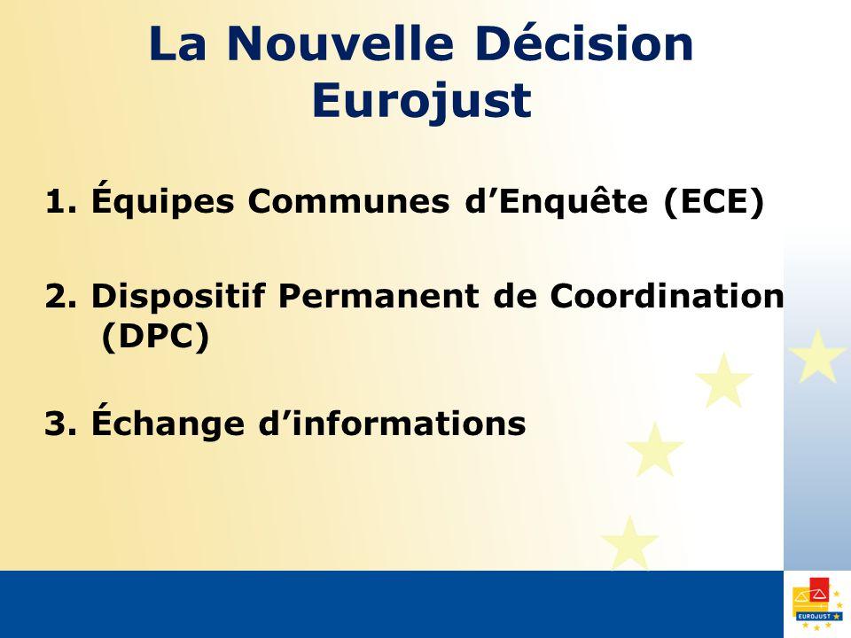 La Nouvelle Décision Eurojust 1. Équipes Communes dEnquête (ECE) 2. Dispositif Permanent de Coordination (DPC) 3. Échange dinformations