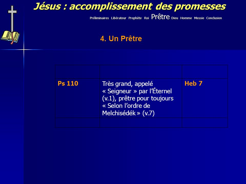 Jésus : accomplissement des promesses 4. Un Prêtre Ps 110Très grand, appelé « Seigneur » par lÉternel (v.1), prêtre pour toujours « Selon lordre de Me