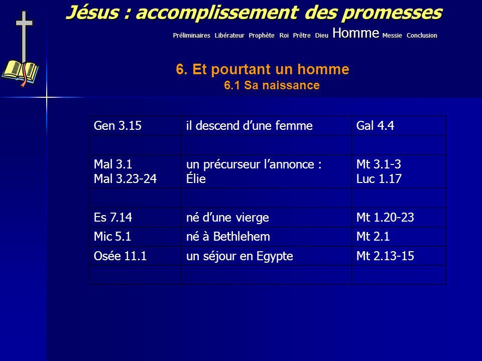 Jésus : accomplissement des promesses 6. Et pourtant un homme 6.1 Sa naissance Gen 3.15il descend dune femmeGal 4.4 Mal 3.1 Mal 3.23-24 un précurseur