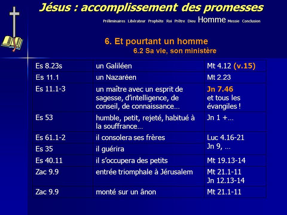 Jésus : accomplissement des promesses Es 8.23sun GaliléenMt 4.12 (v.15) Es 11.1un NazaréenMt 2.23 Es 11.1-3un maître avec un esprit de sagesse, dintel