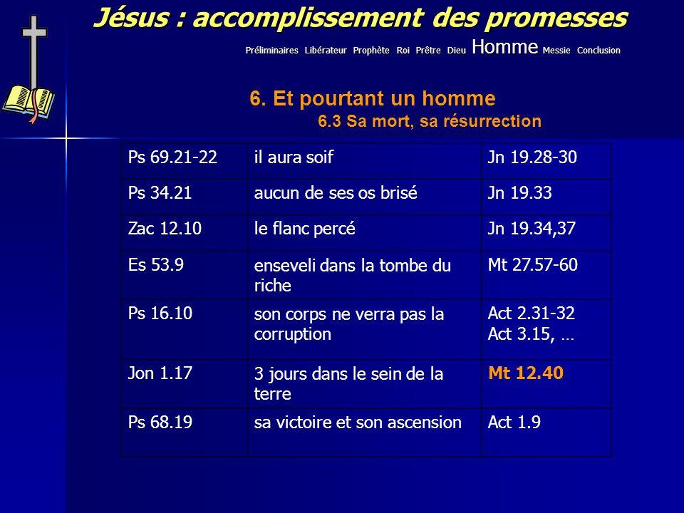 Jésus : accomplissement des promesses Ps 69.21-22il aura soifJn 19.28-30 Ps 34.21aucun de ses os briséJn 19.33 Zac 12.10le flanc percéJn 19.34,37 Es 53.9enseveli dans la tombe du riche Mt 27.57-60 Ps 16.10son corps ne verra pas la corruption Act 2.31-32 Act 3.15, … Jon 1.173 jours dans le sein de la terre Mt 12.40 Ps 68.19sa victoire et son ascensionAct 1.9 Préliminaires Libérateur Prophète Roi Prêtre Dieu Homme Messie Conclusion 6.