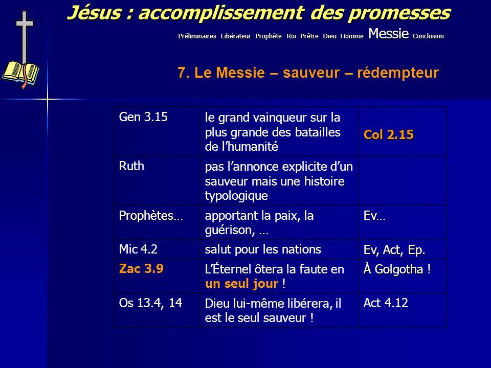 Jésus : accomplissement des promesses 7. Le Messie – sauveur – rédempteur Gen 3.15le grand vainqueur sur la plus grande des batailles de lhumanité Col