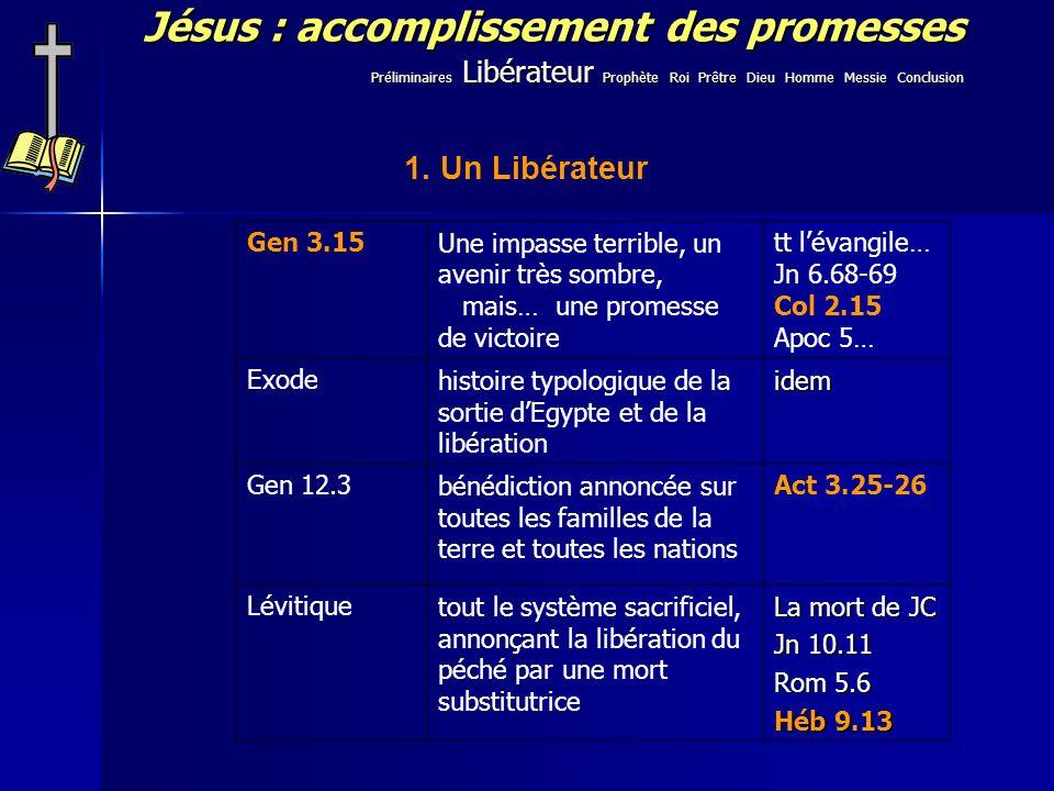 Jésus : accomplissement des promesses 1. Un Libérateur Gen 3.15Une impasse terrible, un avenir très sombre, mais… une promesse de victoire tt lévangil