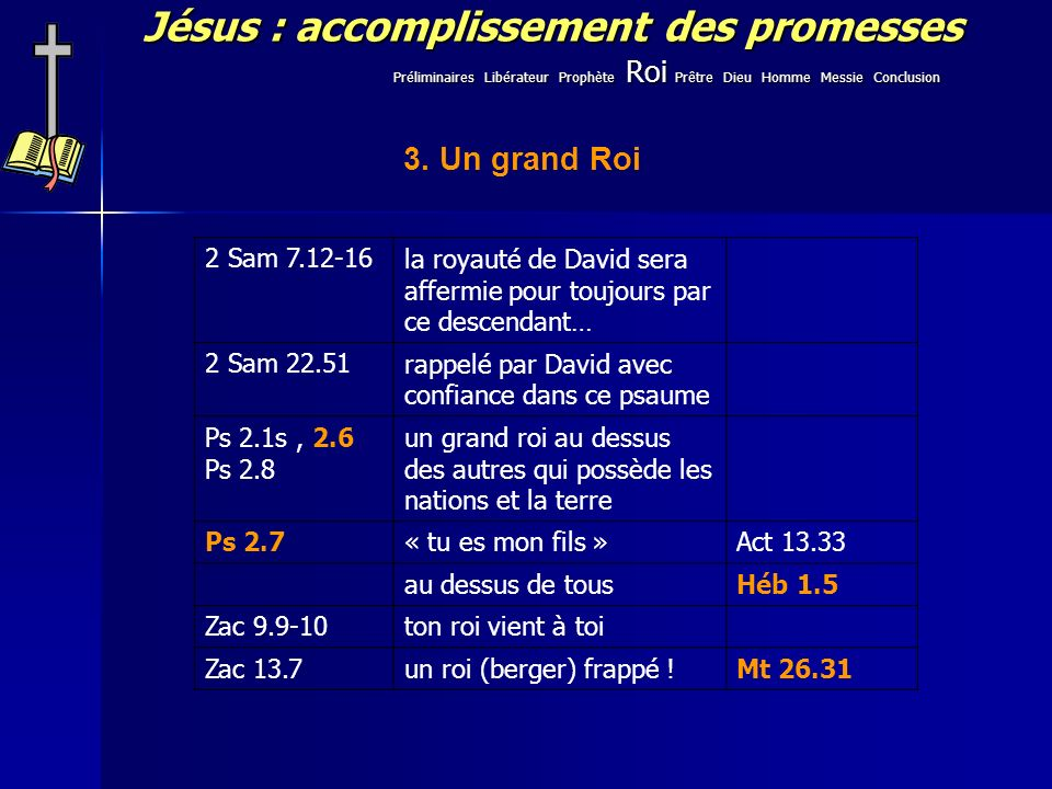 Jésus : accomplissement des promesses 3. Un grand Roi 2 Sam 7.12-16la royauté de David sera affermie pour toujours par ce descendant… 2 Sam 22.51rappe
