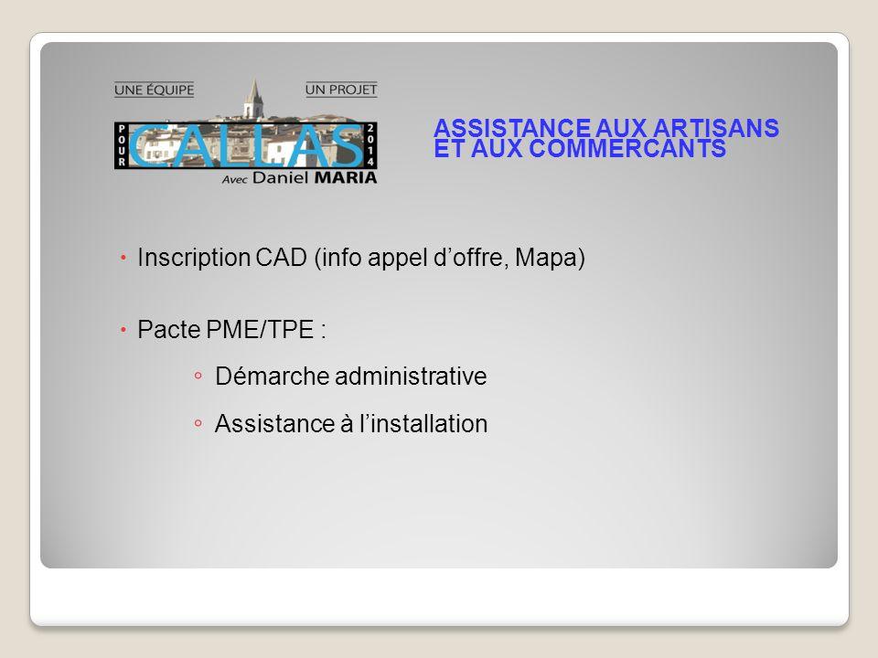 Inscription CAD (info appel doffre, Mapa) Pacte PME/TPE : Démarche administrative Assistance à linstallation ASSISTANCE AUX ARTISANS ET AUX COMMERCANTS