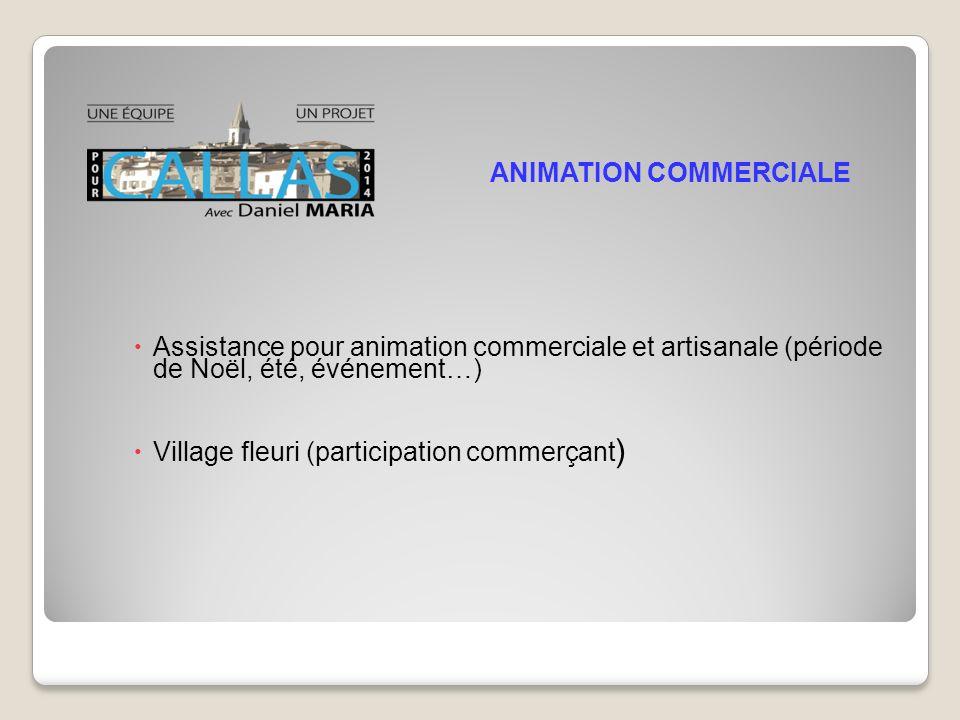 Assistance pour animation commerciale et artisanale (période de Noël, été, événement…) Village fleuri (participation commerçant ) ANIMATION COMMERCIALE