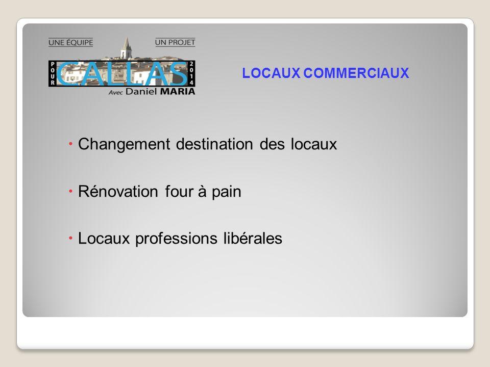 Changement destination des locaux Rénovation four à pain Locaux professions libérales LOCAUX COMMERCIAUX
