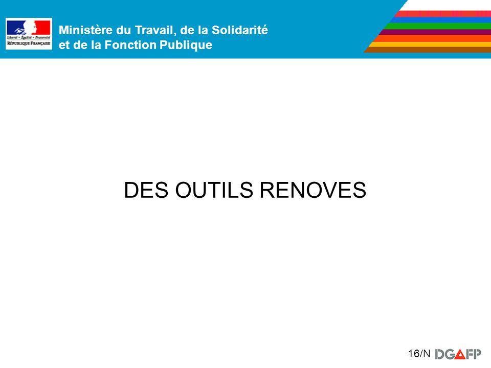 Ministère du Travail, de la Solidarité et de la Fonction Publique 16/N DES OUTILS RENOVES