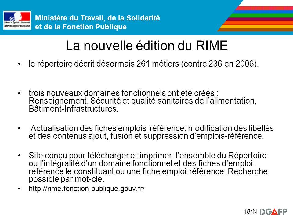 Ministère du Travail, de la Solidarité et de la Fonction Publique 18/N La nouvelle édition du RIME le répertoire décrit désormais 261 métiers (contre 236 en 2006).