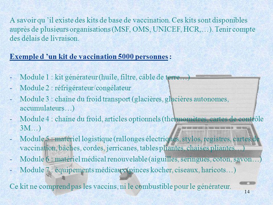 14 -Module 1 : kit générateur (huile, filtre, câble de terre…) -Module 2 : réfrigérateur/congélateur -Module 3 : chaîne du froid transport (glacières,