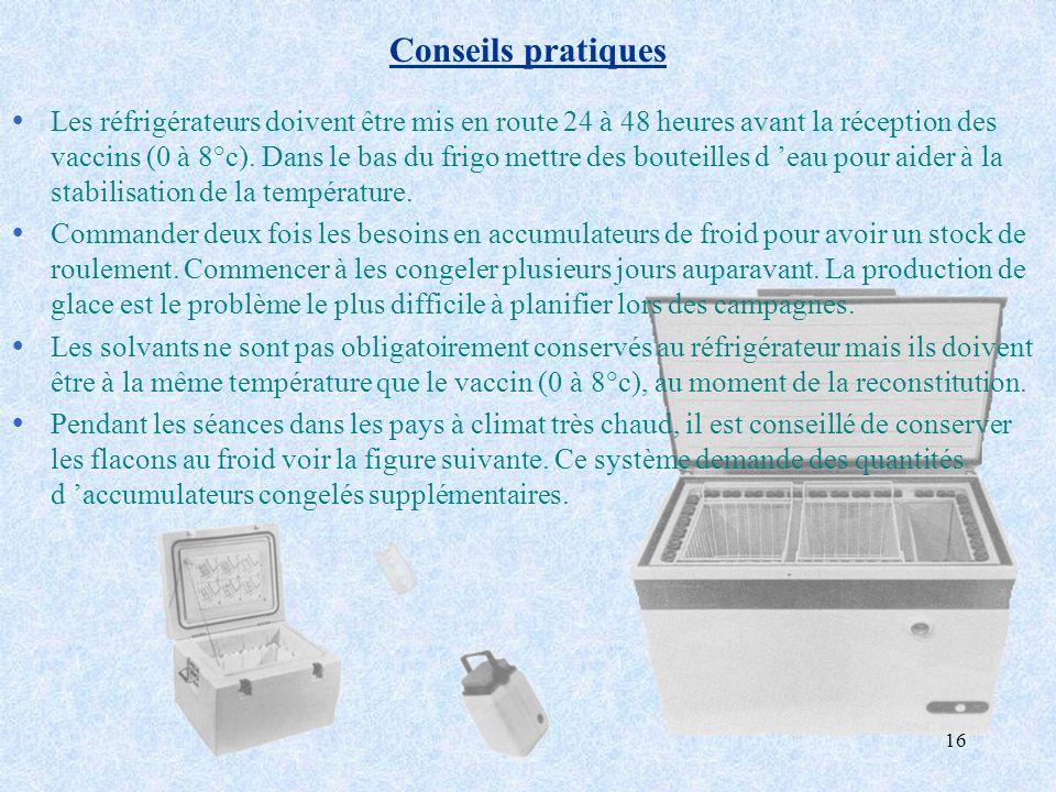 16 Conseils pratiques ŸLes réfrigérateurs doivent être mis en route 24 à 48 heures avant la réception des vaccins (0 à 8°c). Dans le bas du frigo mett