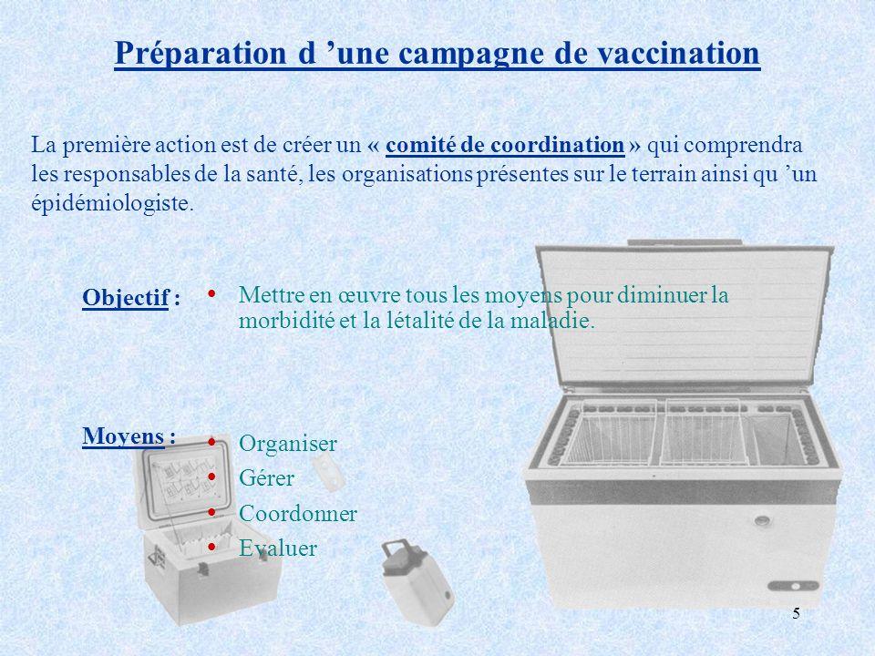 5 Préparation d une campagne de vaccination ŸMettre en œuvre tous les moyens pour diminuer la morbidité et la létalité de la maladie. ŸOrganiser ŸGére