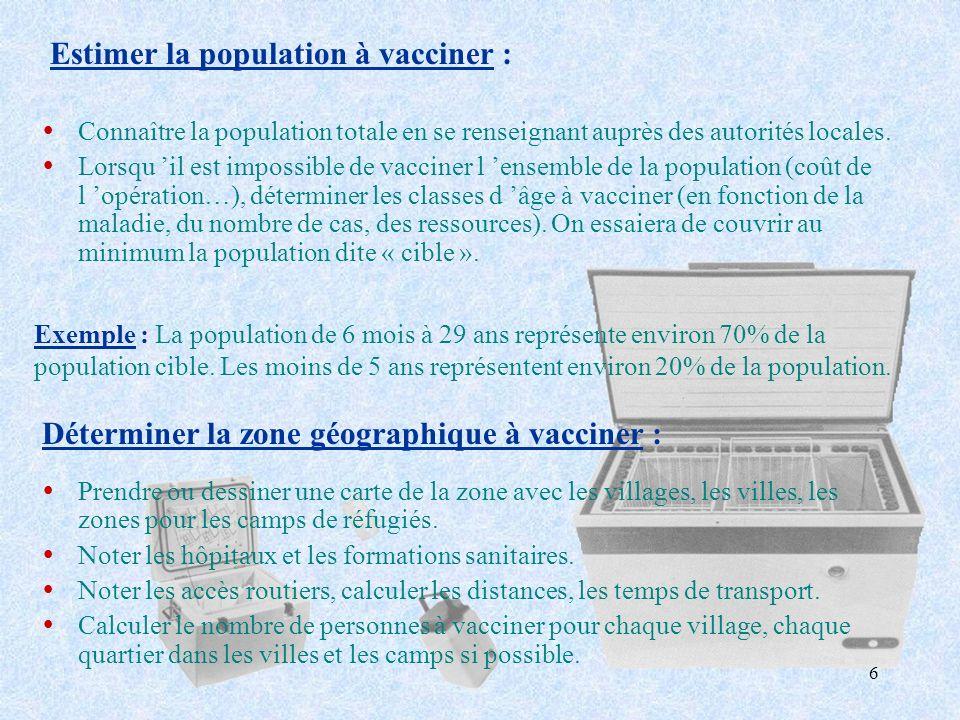 6 Estimer la population à vacciner : ŸConnaître la population totale en se renseignant auprès des autorités locales. ŸLorsqu il est impossible de vacc