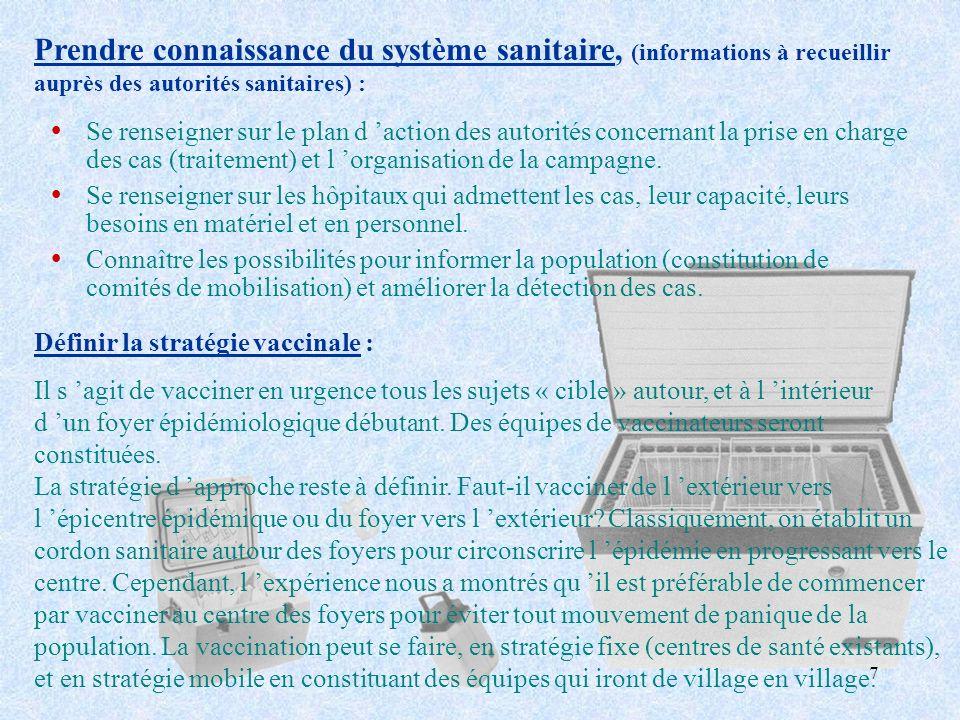 7 ŸSe renseigner sur le plan d action des autorités concernant la prise en charge des cas (traitement) et l organisation de la campagne. ŸSe renseigne