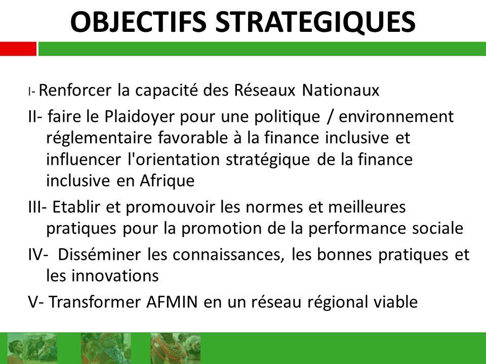 OBJECTIFS STRATEGIQUES I- Renforcer la capacité des Réseaux Nationaux II- faire le Plaidoyer pour une politique / environnement réglementaire favorable à la finance inclusive et influencer l orientation stratégique de la finance inclusive en Afrique III- Etablir et promouvoir les normes et meilleures pratiques pour la promotion de la performance sociale IV- Disséminer les connaissances, les bonnes pratiques et les innovations V- Transformer AFMIN en un réseau régional viable
