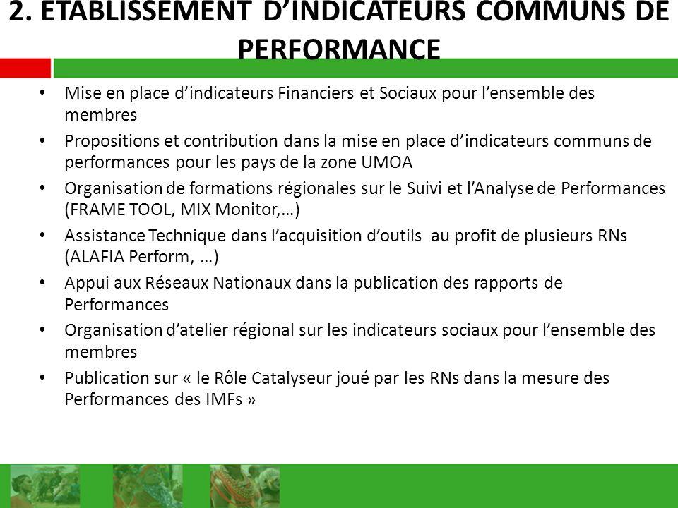 2. ETABLISSEMENT DINDICATEURS COMMUNS DE PERFORMANCE Mise en place dindicateurs Financiers et Sociaux pour lensemble des membres Propositions et contr