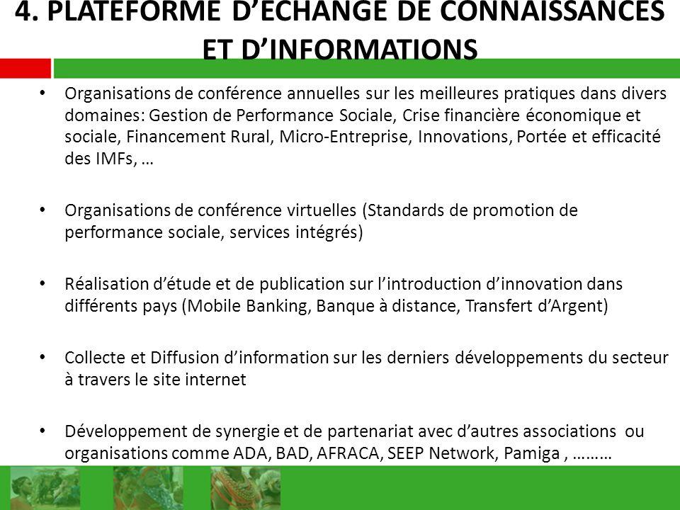 4. PLATEFORME DECHANGE DE CONNAISSANCES ET DINFORMATIONS Organisations de conférence annuelles sur les meilleures pratiques dans divers domaines: Gest