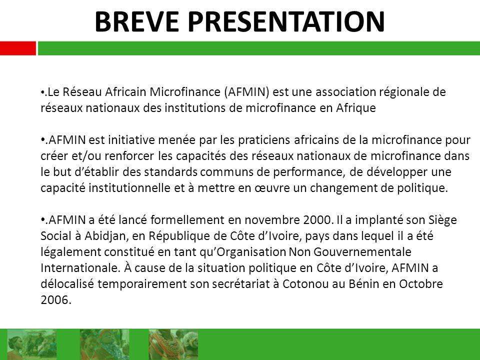 BREVE PRESENTATION. Le Réseau Africain Microfinance (AFMIN) est une association régionale de réseaux nationaux des institutions de microfinance en Afr