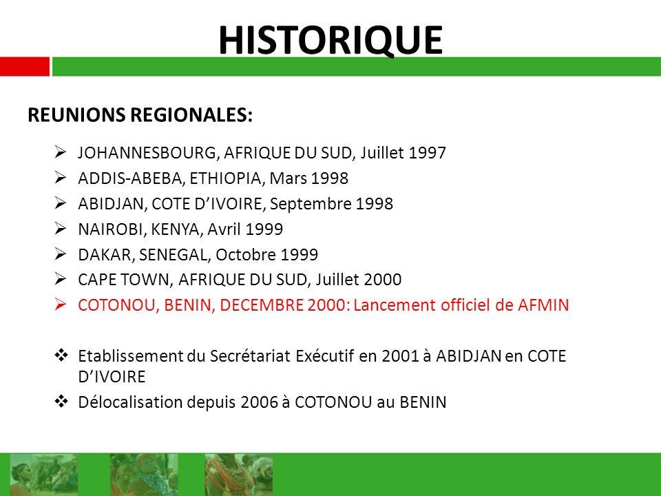 HISTORIQUE JOHANNESBOURG, AFRIQUE DU SUD, Juillet 1997 ADDIS-ABEBA, ETHIOPIA, Mars 1998 ABIDJAN, COTE DIVOIRE, Septembre 1998 NAIROBI, KENYA, Avril 1999 DAKAR, SENEGAL, Octobre 1999 CAPE TOWN, AFRIQUE DU SUD, Juillet 2000 COTONOU, BENIN, DECEMBRE 2000: Lancement officiel de AFMIN Etablissement du Secrétariat Exécutif en 2001 à ABIDJAN en COTE DIVOIRE Délocalisation depuis 2006 à COTONOU au BENIN REUNIONS REGIONALES: