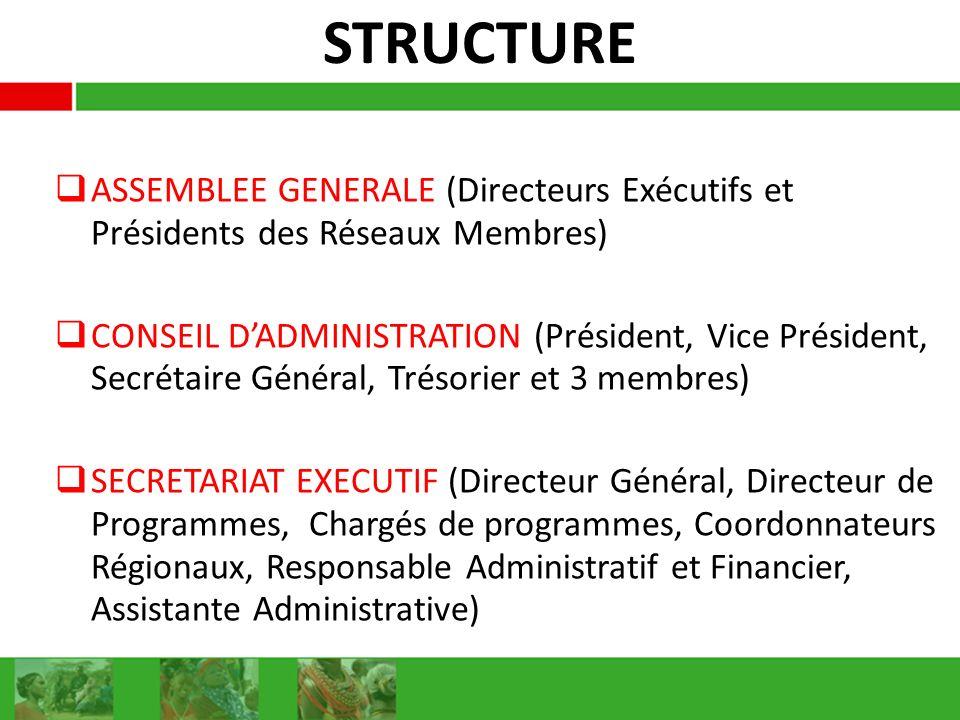 STRUCTURE ASSEMBLEE GENERALE (Directeurs Exécutifs et Présidents des Réseaux Membres) CONSEIL DADMINISTRATION (Président, Vice Président, Secrétaire Général, Trésorier et 3 membres) SECRETARIAT EXECUTIF (Directeur Général, Directeur de Programmes, Chargés de programmes, Coordonnateurs Régionaux, Responsable Administratif et Financier, Assistante Administrative)