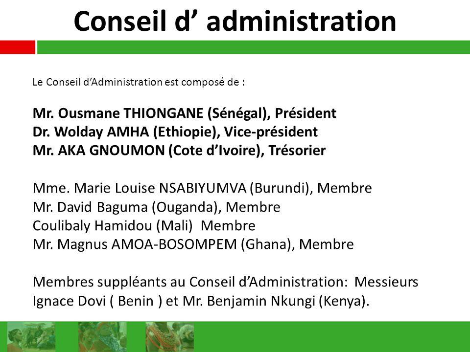 Conseil d administration Le Conseil dAdministration est composé de : Mr. Ousmane THIONGANE (Sénégal), Président Dr. Wolday AMHA (Ethiopie), Vice-prési