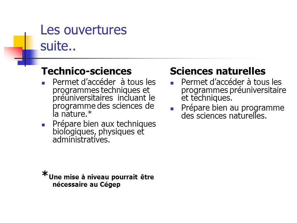 Les ouvertures suite.. Technico-sciences Permet daccéder à tous les programmes techniques et préuniversitaires incluant le programme des sciences de l