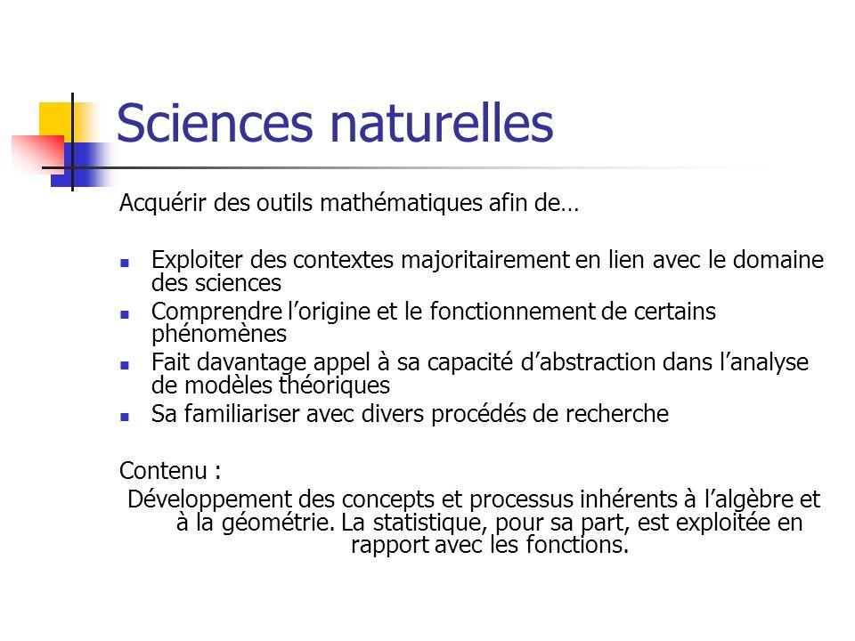 Sciences naturelles Acquérir des outils mathématiques afin de… Exploiter des contextes majoritairement en lien avec le domaine des sciences Comprendre