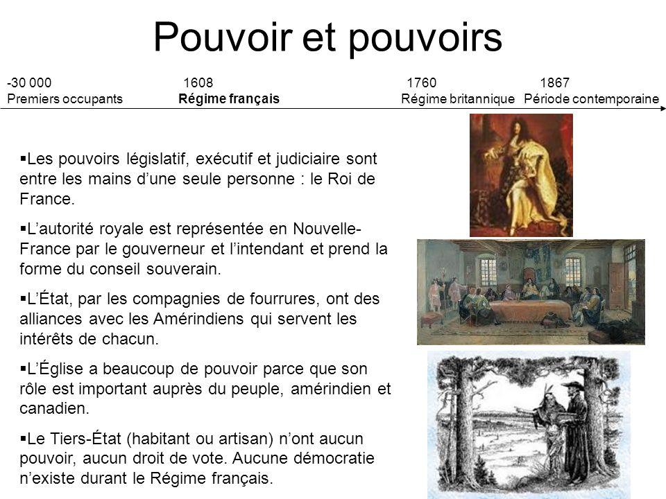 Pouvoir et pouvoirs -30 000 160817601867 Premiers occupants Régime français Régime britannique Période contemporaine Les pouvoirs législatif, exécutif et judiciaire sont entre les mains dune seule personne : le Roi de France.