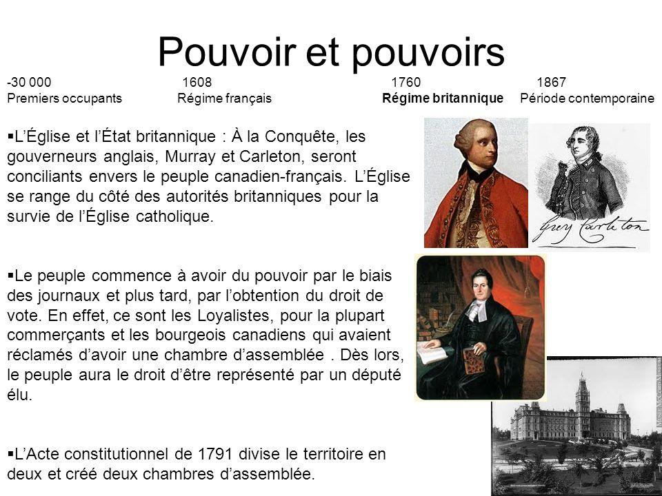 Pouvoir et pouvoirs -30 000 1608 17601867 Premiers occupants Régime français Régime britannique Période contemporaine LÉglise et lÉtat britannique : À la Conquête, les gouverneurs anglais, Murray et Carleton, seront conciliants envers le peuple canadien-français.