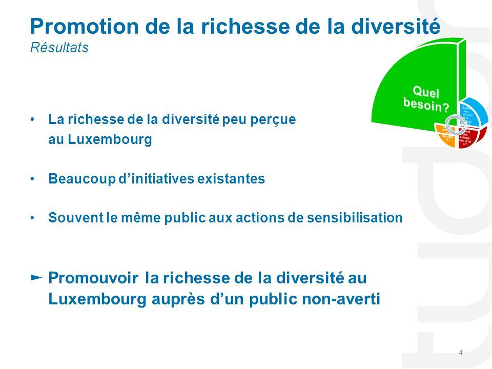 La richesse de la diversité peu perçue au Luxembourg Beaucoup dinitiatives existantes Souvent le même public aux actions de sensibilisation Promouvoir la richesse de la diversité au Luxembourg auprès dun public non-averti 4 Promotion de la richesse de la diversité Résultats