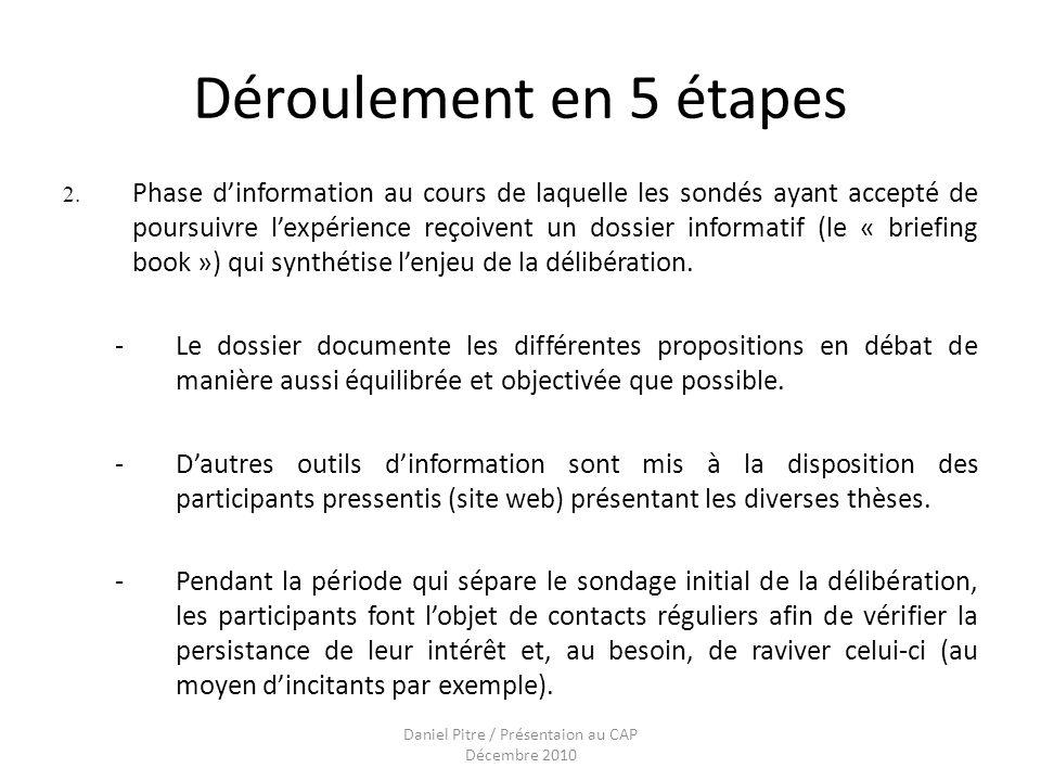 Daniel Pitre / Présentaion au CAP Décembre 2010 Déroulement en 5 étapes 2.