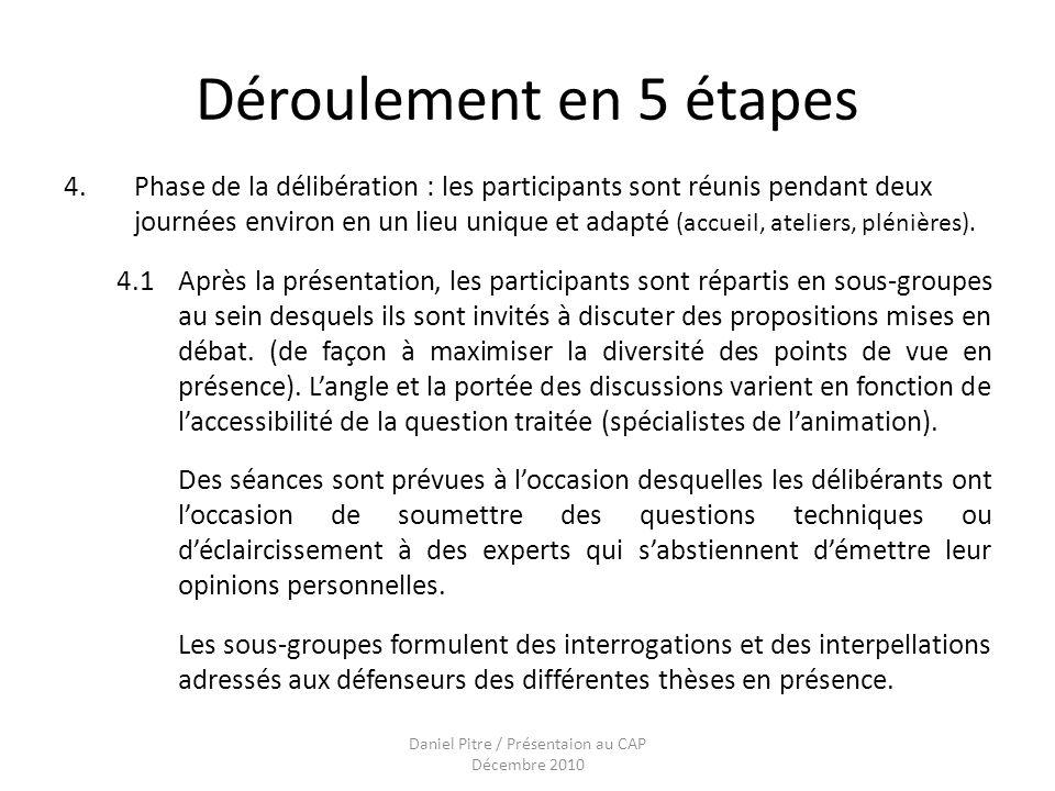 Daniel Pitre / Présentaion au CAP Décembre 2010 Déroulement en 5 étapes 4.Phase de la délibération : les participants sont réunis pendant deux journées environ en un lieu unique et adapté (accueil, ateliers, plénières).